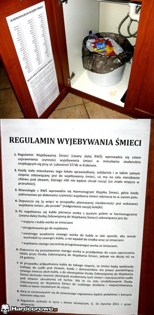 Regulamin wyjebywania śmieci - 1