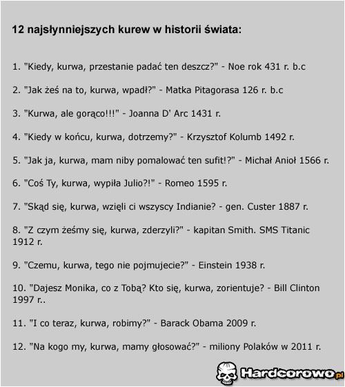 12 najsłynniejszych kurew w historii świata - 1